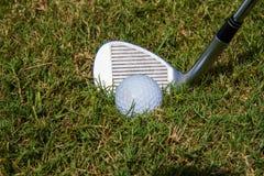Pelota de golf en el áspero fotografía de archivo