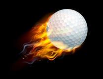 Pelota de golf en el fuego Imágenes de archivo libres de regalías