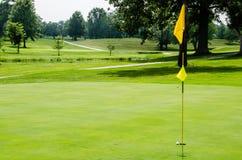 Pelota de golf en el labio del verde Imagenes de archivo