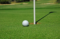 Pelota de golf en el verde Imagen de archivo