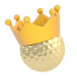 Pelota de golf en la corona aislada Imágenes de archivo libres de regalías