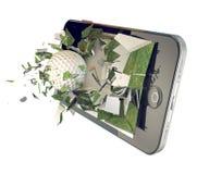 Pelota de golf en smartphone Imágenes de archivo libres de regalías