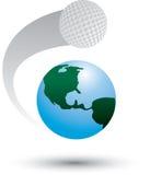 Pelota de golf en todo el mundo ilustración del vector