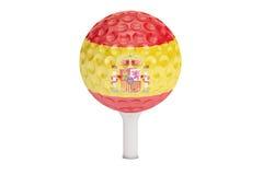 Pelota de golf en una camiseta con la bandera de España, representación 3D stock de ilustración