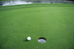 Pelota de golf en verde Foto de archivo libre de regalías