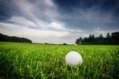 Pelota de golf encendido en el campo Imagenes de archivo