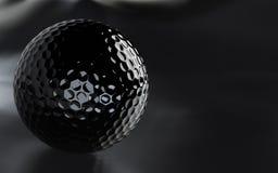 Pelota de golf negra, brillante con el canal alfa. Fotos de archivo