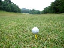 Pelota de golf que aguarda en hierba imágenes de archivo libres de regalías