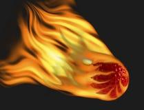 Pelota de golf roja en el fuego Imagen de archivo libre de regalías