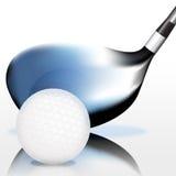 Pelota de golf y club Fotos de archivo libres de regalías