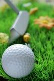 Pelota de golf y club en hierba artificial Imagen de archivo