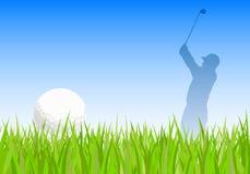 Pelota de golf y golfista ilustración del vector