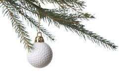 Pelota de golf y la Navidad Imagenes de archivo