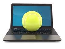 Pelota de tenis con el ordenador portátil libre illustration