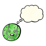 pelota de tenis de la historieta con la burbuja del pensamiento Fotos de archivo