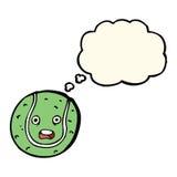 pelota de tenis de la historieta con la burbuja del pensamiento Foto de archivo libre de regalías