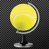 Pelota de tenis del vector Globo de la pelota de tenis Juego de mundo Se divierte el accesorio como esfera de la tierra Alcance d Imagen de archivo