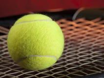 Pelota de tenis en la raqueta Foto de archivo libre de regalías