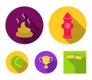 Pelota de tenis, juego, fuego de la boca de riego, taza, heces Los iconos determinados de la colección del perro en estilo plano  ilustración del vector
