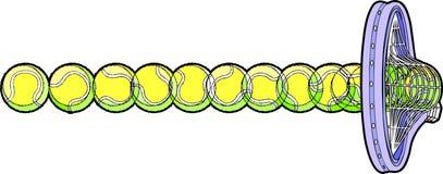 Pelota de tenis que golpea la raqueta Fotos de archivo libres de regalías