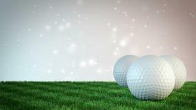 Pelotas de golf en campo de hierba con el fondo del bokeh - lazo inconsútil