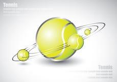 Pelotas de tenis formadas como Sistema Solar Imagenes de archivo