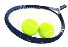 Pelotas de tenis y estafa en aislado Imágenes de archivo libres de regalías