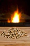 Pelotillas de madera delante del calentador de la biomasa Fotografía de archivo
