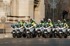 Pelotón de la motocicleta de la policía Foto de archivo libre de regalías