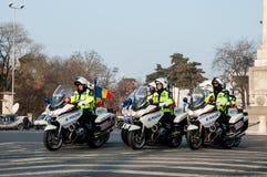 Pelotón de la motocicleta de la policía Imagenes de archivo