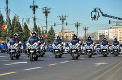 Pelotón de la motocicleta de la policía Imágenes de archivo libres de regalías