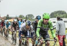 Peloton на мощенной булыжником дороге Тур-де-Франс 2014 Стоковые Фотографии RF