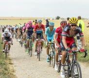 Peloton на дороге булыжника - Тур-де-Франс 2015 Стоковые Фотографии RF