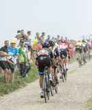 Peloton на Cobblestoned дороге - Тур-де-Франс 2015 Стоковые Фото