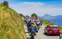 Peloton на d'Aspin Col - Тур-де-Франс 2015 Стоковое Фото