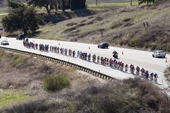 Peloton. On highway 126 between Piru, California, and Santa Clarita, California, during stage 6 of the Amgen Tour Of California on February 24, 2007 stock images