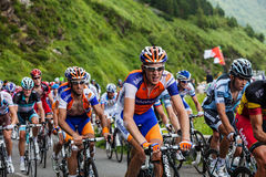 The Peloton. Beost,France,July 15th 2011: Image of the peloton (Robert Gesink from Rabobank team is in the center) climbing the category H mountain pass Aubisque Royalty Free Stock Image