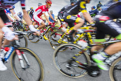 Peloton Abstract - Tour de France 2016. Ardevon, France - July 2, 2016: Abstract blurred image of the peloton taking the start of Tour de France at Km 0, close Royalty Free Stock Photo