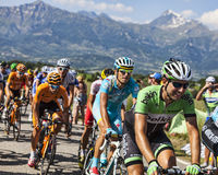 Peloton in Alpen Stock Foto