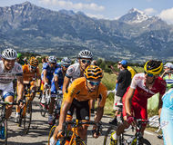 The Peloton in Alps Stock Photo