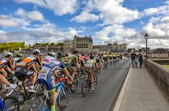 The Peloton and the Amboise Chateau- Paris-Tours 2017 royalty free stock photo