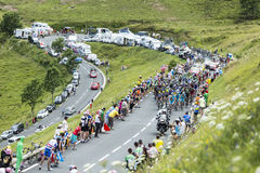 The Peloton Approaching on Col de Peyresourde - Tour de France 2 Stock Photo