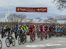 The Peloton in Barcelona - Tour de Catalunya 2016. Barcelona, Spain - March27, 2016: The peloton riding during Volta Ciclista a Catalunya, on the top of Montjuic Stock Photos