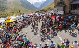 Peloton in Bergen - Ronde van Frankrijk 2015 Royalty-vrije Stock Foto's