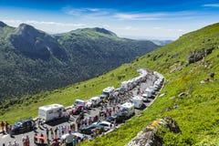 Peloton in Bergen - Ronde van Frankrijk 2016 Stock Afbeelding