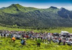 Peloton in Bergen - Ronde van Frankrijk 2016 Stock Foto