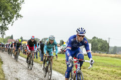 The Peloton on a Cobbled Road- Tour de France 2014 Stock Photos