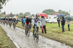 The Peloton on a Cobblestone Road - Tour de France 2014 Royalty Free Stock Photo