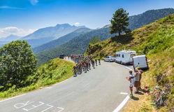 The Peloton on Col d'Aspin - Tour de France 2015 Royalty Free Stock Image