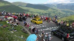 The Peloton on Col de Peyresourde - Tour de France 2014. COL DE PEYRESOURDE,FRANCE-JUL 23, 2014: The peloton climbing the road to Col de Peyresourde in Pyrenees stock video footage